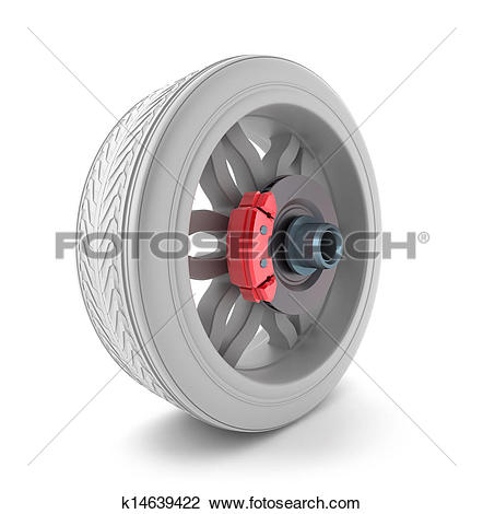 Clip Art of Wheel and brake pads k14639422.