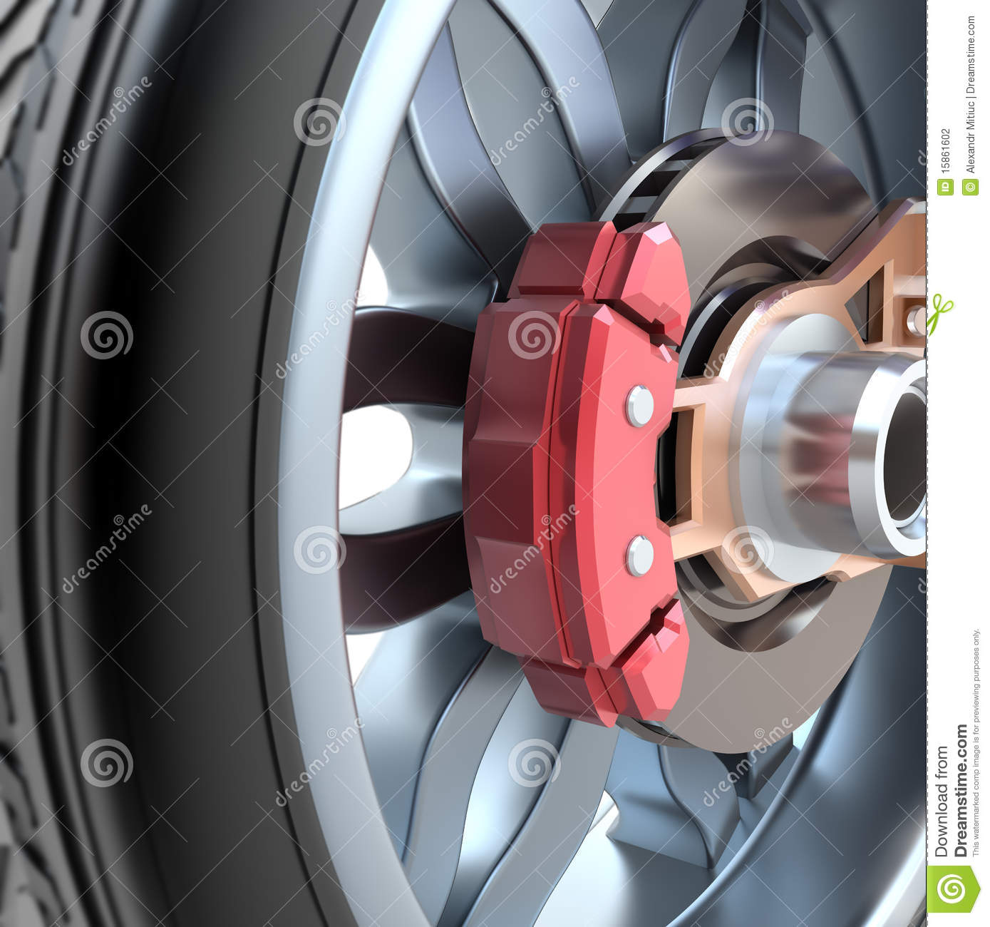 Wheel And Brake Pads Stock Photography.