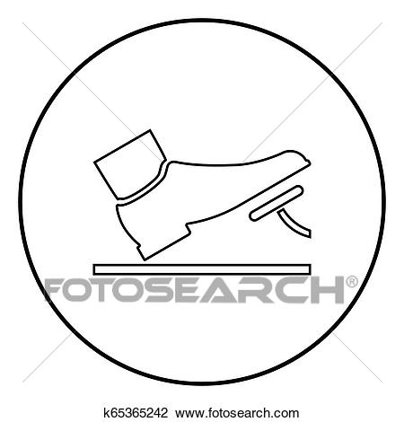Foot pushing the pedal gas pedal brake pedal auto service concept icon  black color illustration in circle round Clipart.