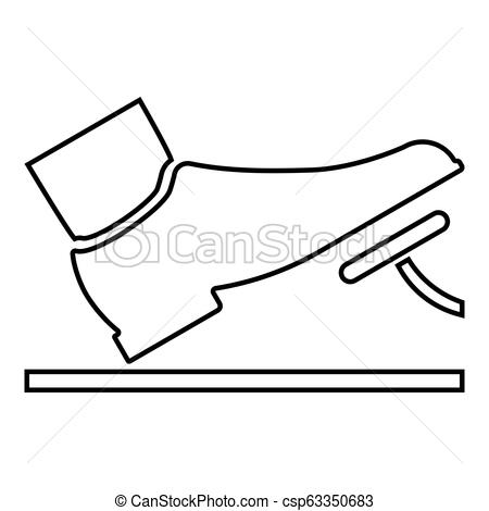 Foot pushing the pedal gas pedal brake pedal auto service concept icon  black color illustration outline.