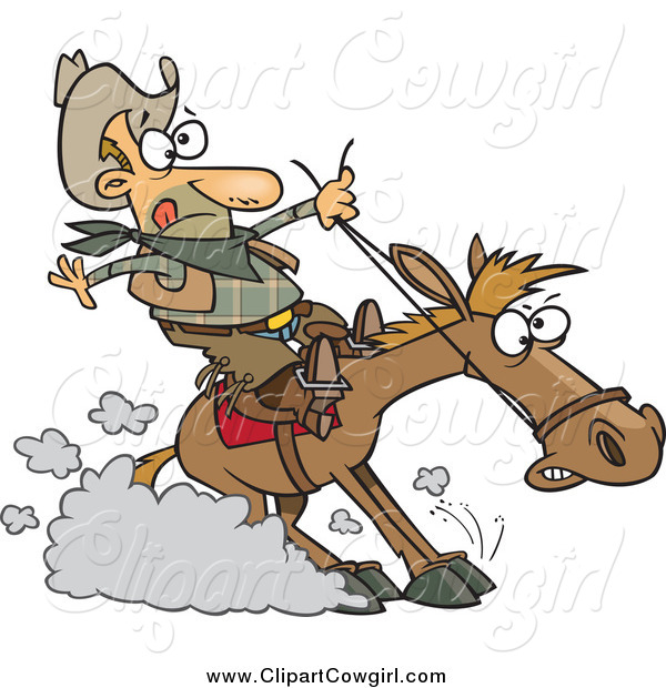 Clipart of a White Male Cowboy Hitting the Horse Brakes Cartoon by.