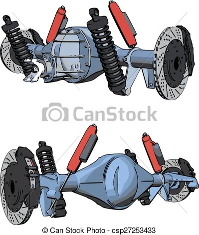 Vectors of Rear axle assembly with suspension and brakes. Red.