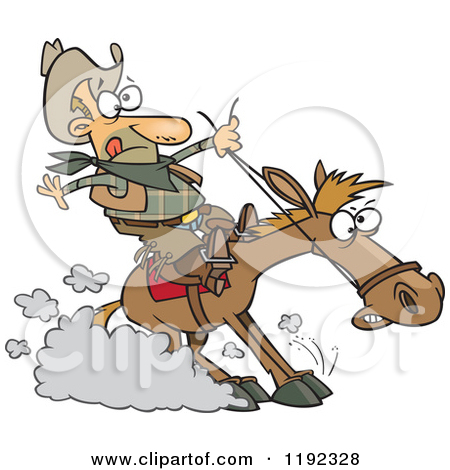 Cartoon of a Cowboy Hitting the Horse Brakes.