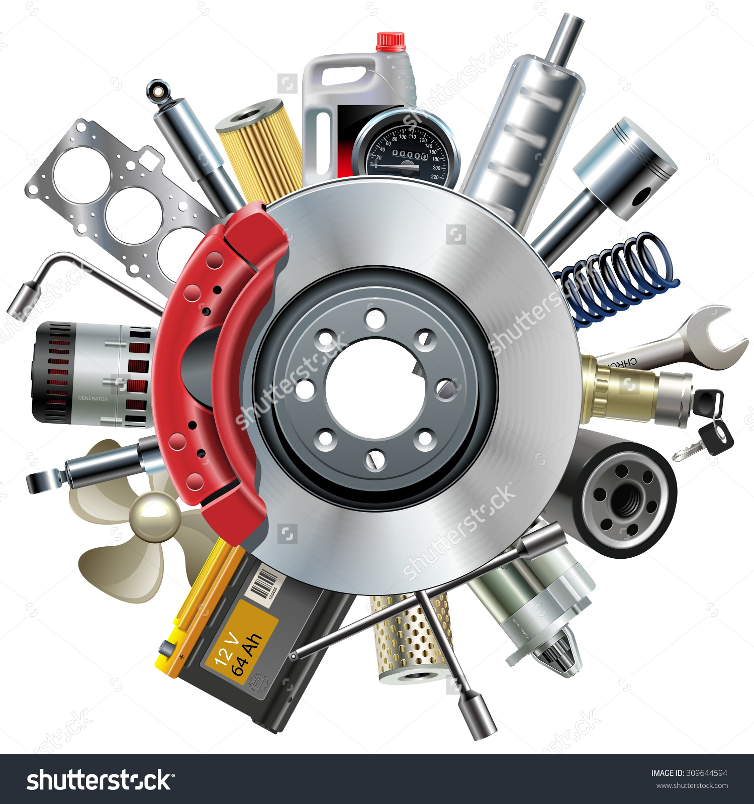 Vector Car Spares Concept Disk Brake Stock Vector 309644594.