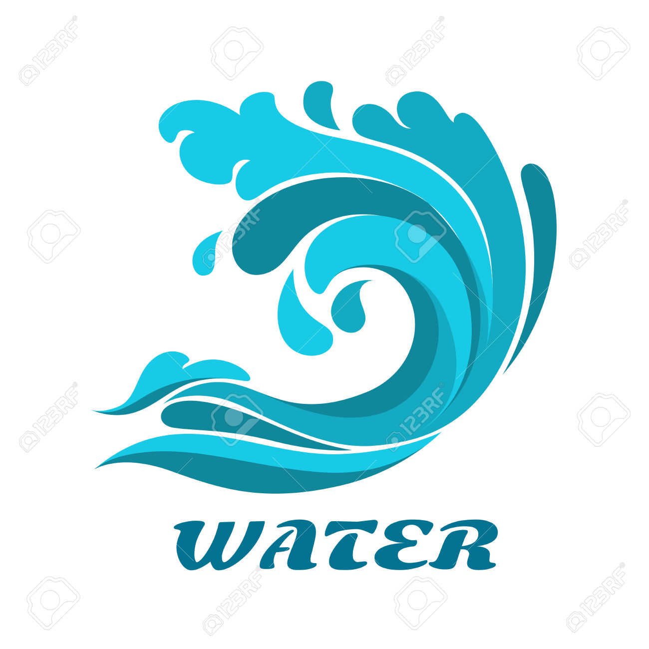 Curling Breaking Ocean Wave Abstract Symbol With Caption Water.