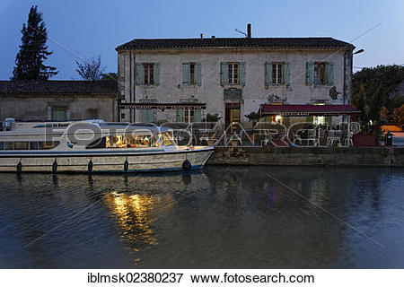 "Picture of ""Canal du Midi at Bram, restaurant with pier."