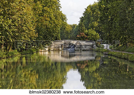 "Pictures of ""Canal du Midi, lock at Bram, Carcassonne, Languedoc."