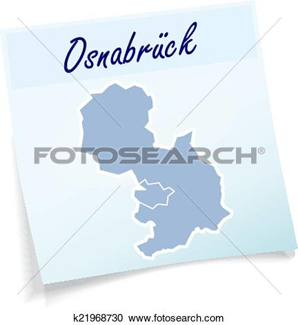 Clipart of Map of Osnabrueck as sticky note k21968730.