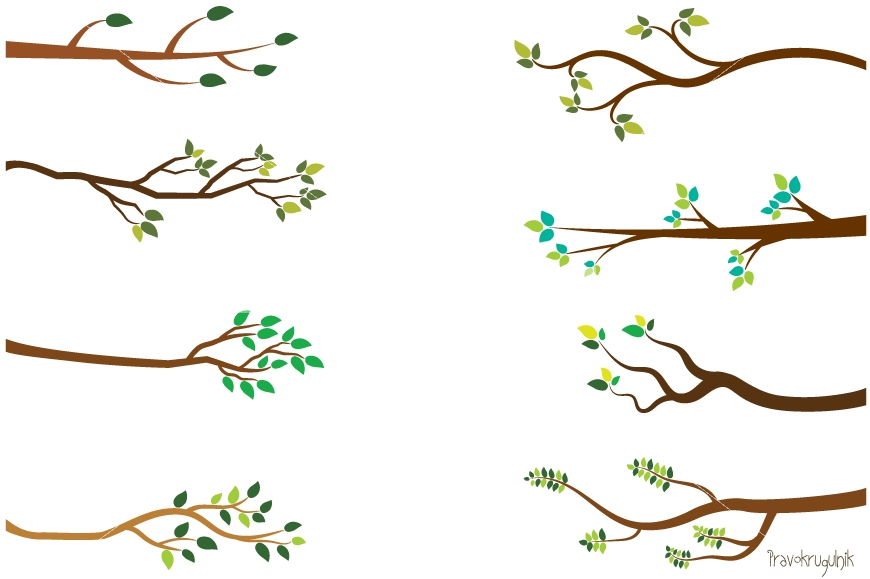 Tree branch clipart, Green leaf branches clip art, Bare branches.