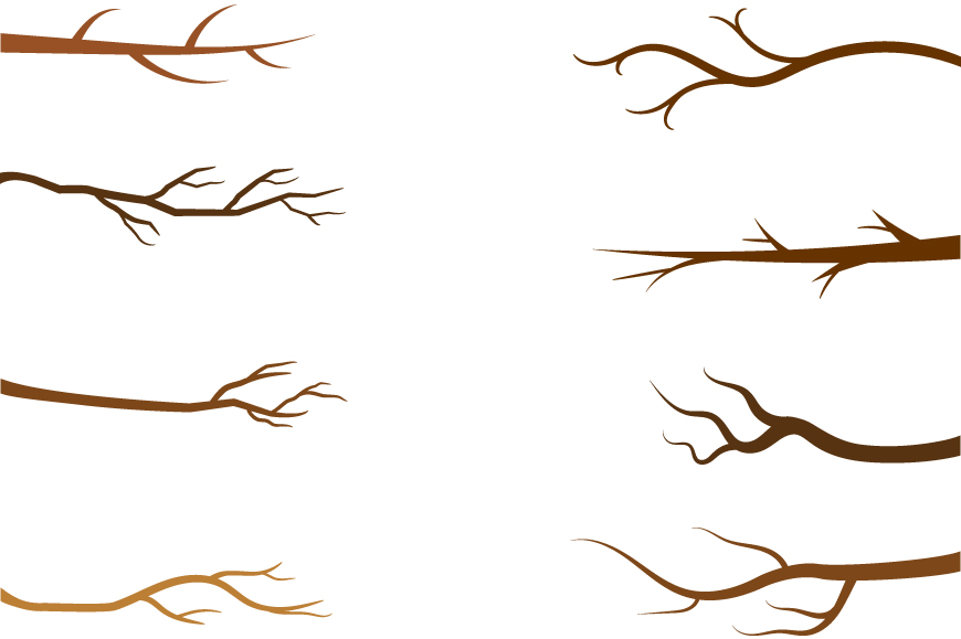 Fall branches clip art, Autumn tree branch clipart set.