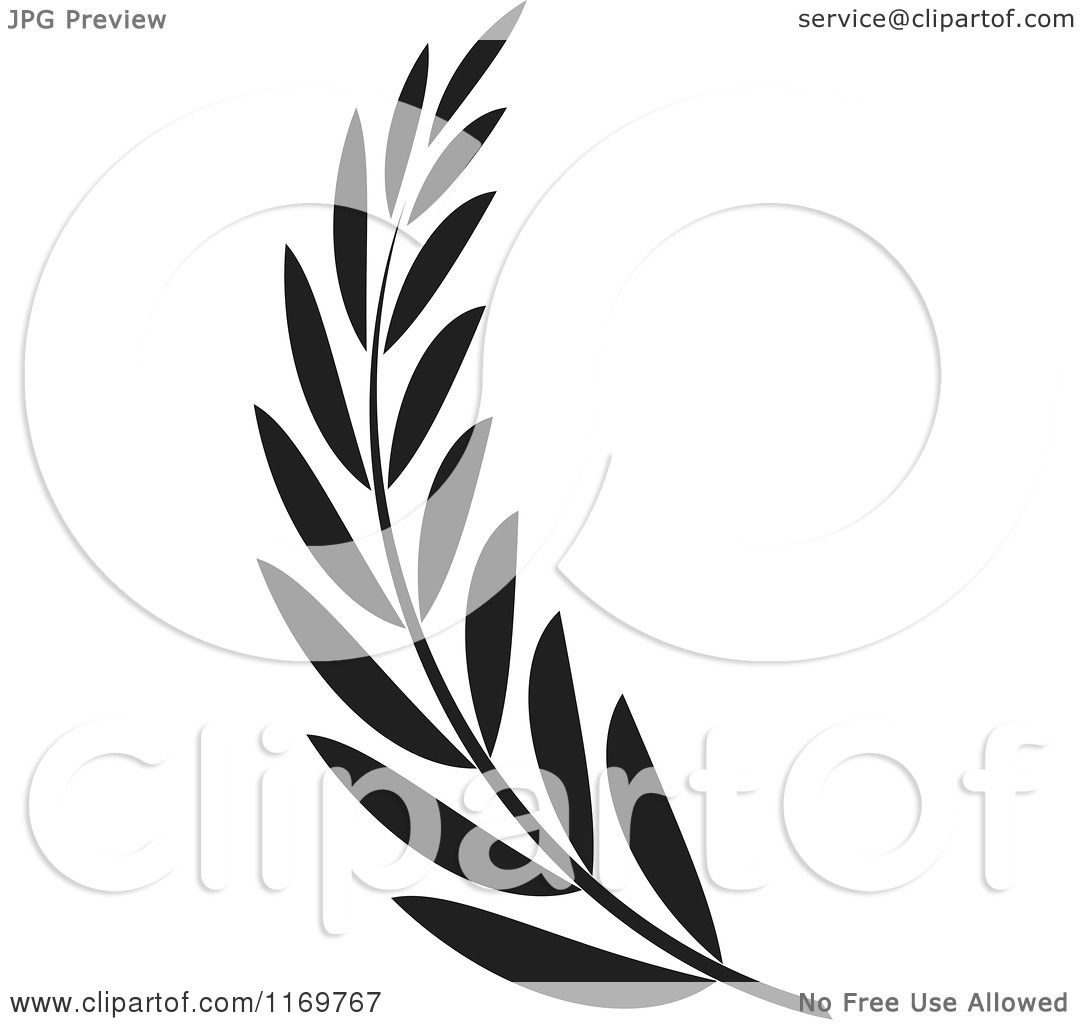 Clipart of a Black and White Olive Branch.
