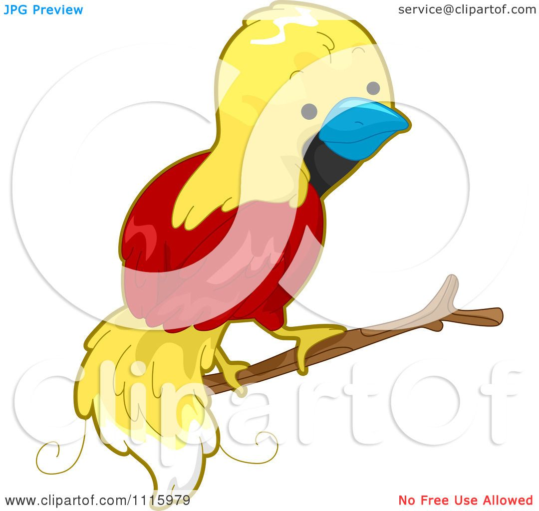 Clipart Cute Bird Of Paradise On A Branch.