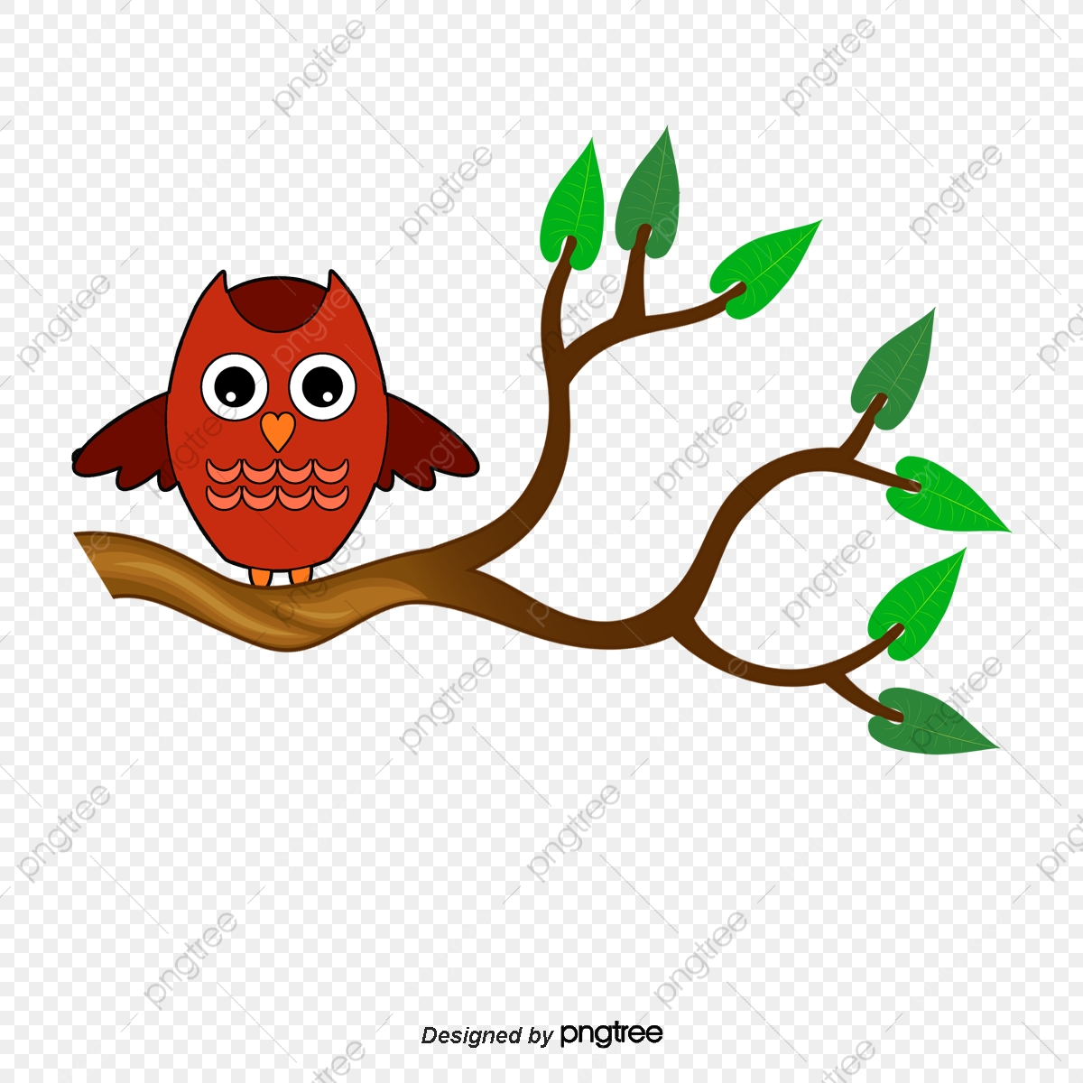 Owl Standing On Branch, Branch Clipart, Owl, Vector PNG and Vector.