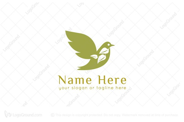 Exclusive Logo 87244, Dove with Olive Branch Logo.