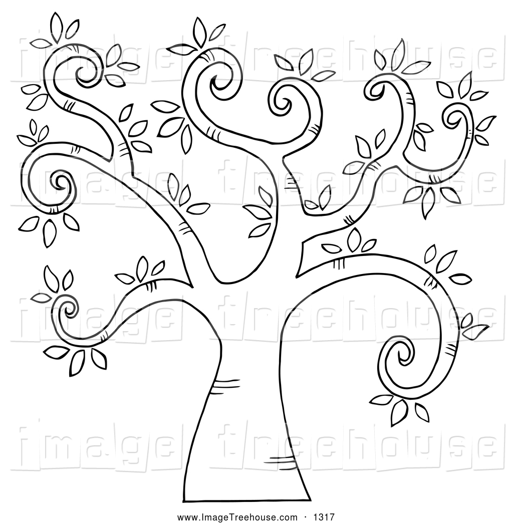 Clipart of a Black and White Curly Branched Tree by Hit Toon.