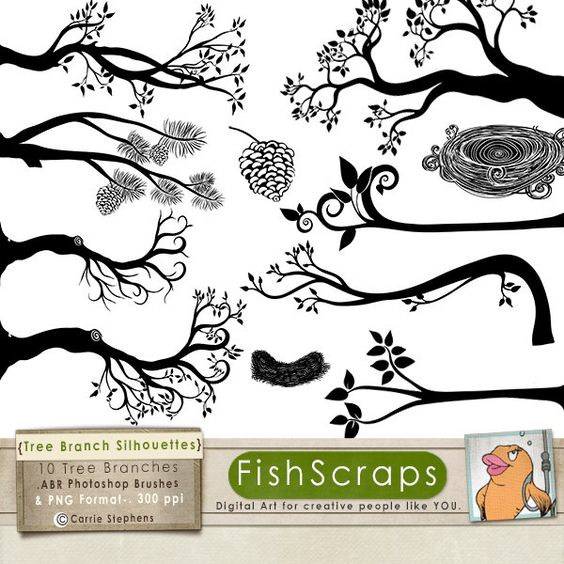 Tree Branch Silhouettes, Leaves + Branch ClipArt, Tree Branch.