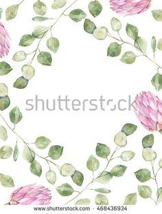 Watercolor wreath. Floral design.