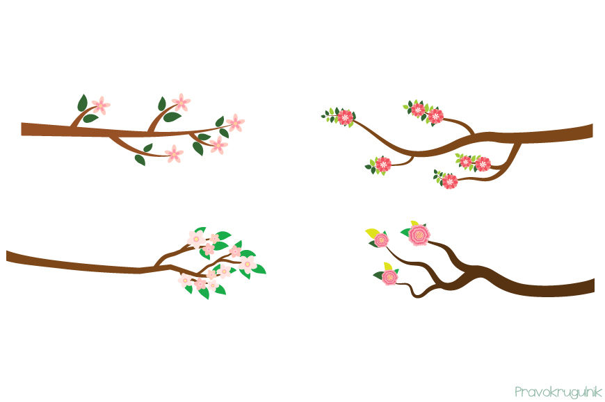 Pink flower branches clipart, Spring summer tree branch clip art.