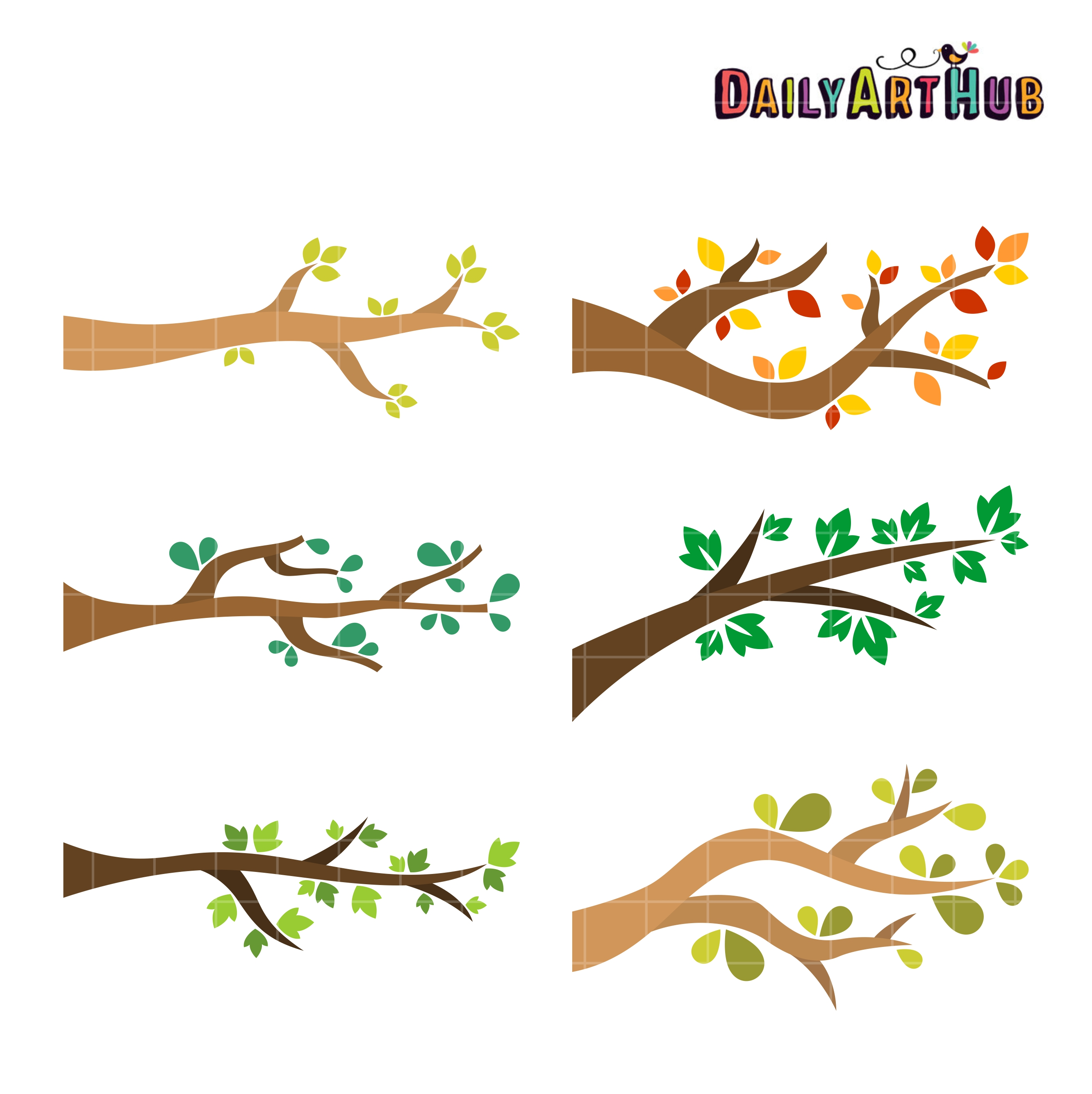 Tree Branches Clip Art Set.