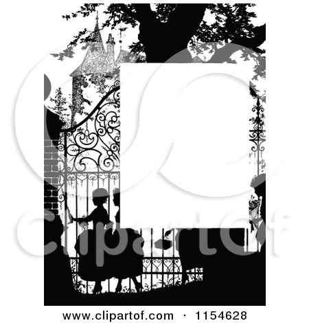 Clipart Vintage Black And White Ornate Wrought Iron Gate.