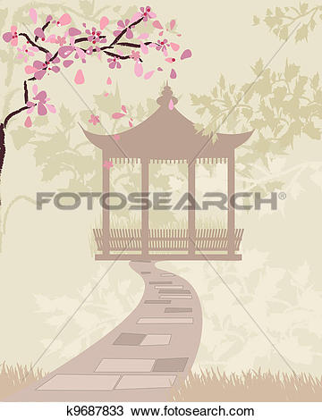Clipart of gate china with cherry blossoms k9687833.
