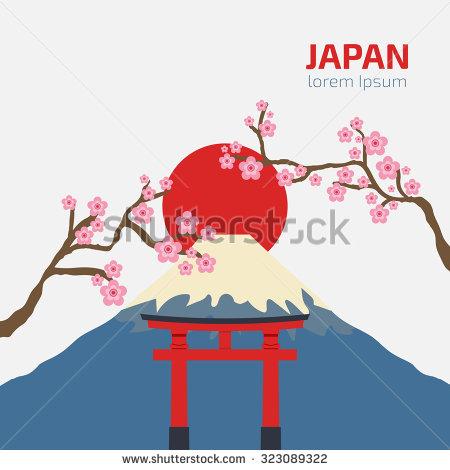 Japanese Sakura Blossom Tori Gate Vector Stock Vector 75944056.
