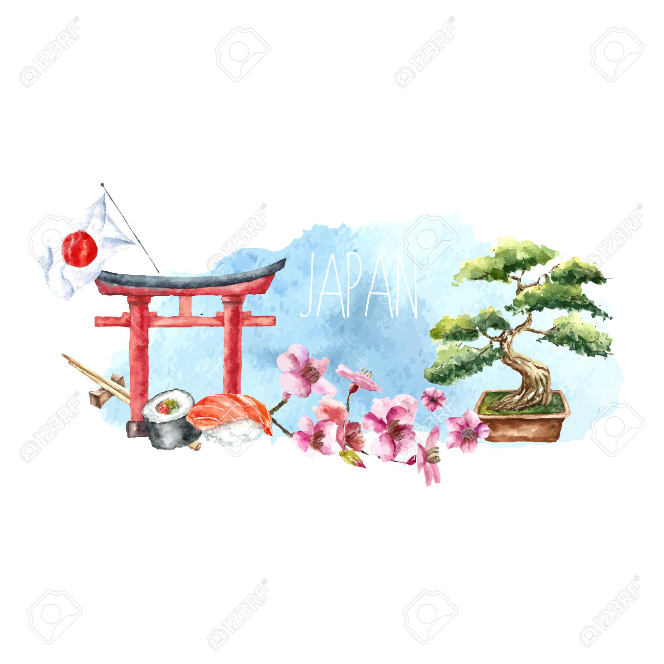 Watercolor Japan Banner.Label With Hand Drawn Elements: Torii.