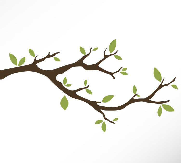 Cartoon tree with leaves and branches.