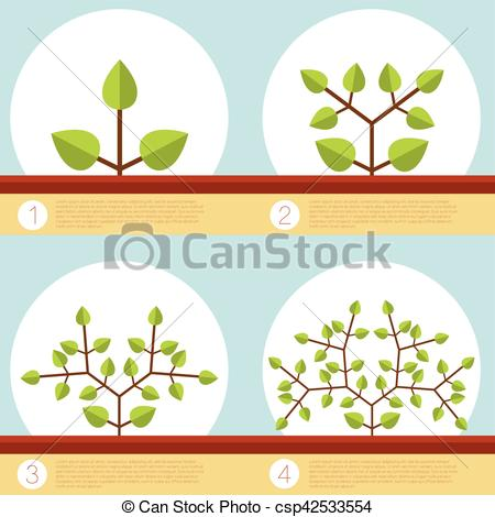 Clipart Vector of Dichotomous branching plants banner.