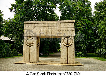 Stock Image of Kiss Gate artwork Constantin Brancusi in Targu Jiu.