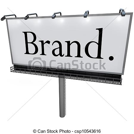 Clipart of Brand Word on Billboard Advertising Marketing Message.