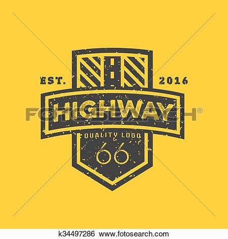 Clip Art of Road sign, Highway 66, high.