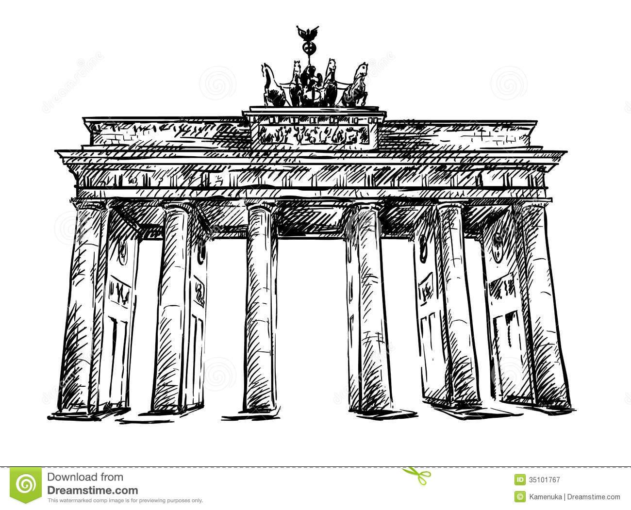 Brandenburg Gate. Vector Sketch. Royalty Free Stock Photography.