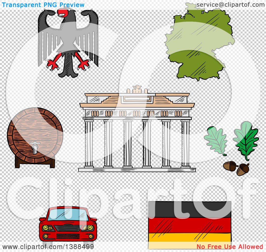 Clipart of Sketched German Icons with Map and Flag, Eagle Emblem.