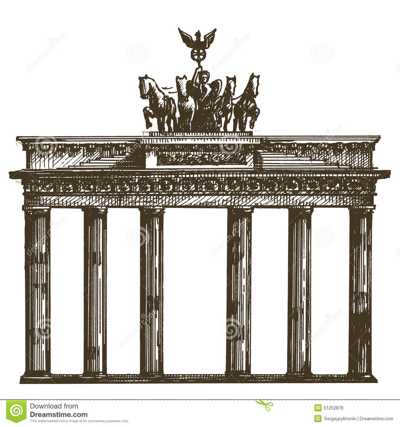 The Brandenburg Gate In Berlin. Hand Drawn Pencil Sketch.
