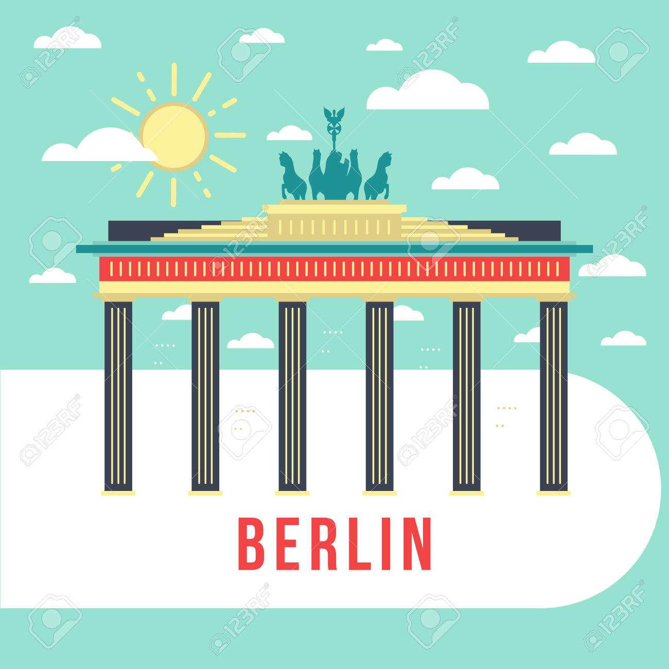 Flat Vector Retro Illustration Brandenburg Gate, Berlin, Germany.