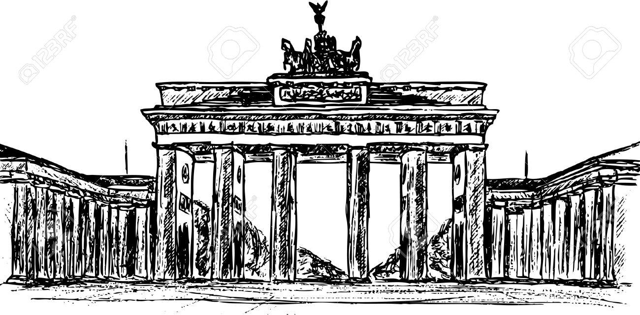Hand Draw Brandenburg Gate, Isolated On Background Royalty Free.