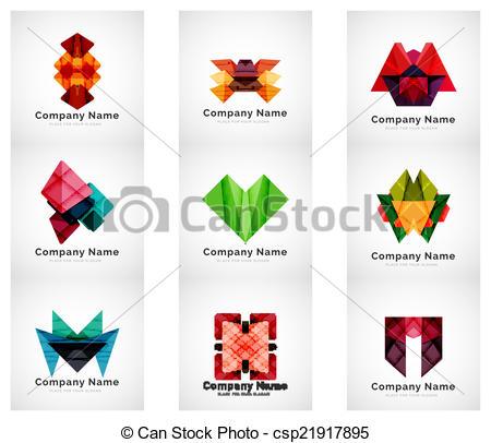 Company logos, paper geometric icon set.