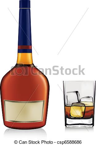 Clip Art Vector of Bottle with brandy and glass with ice isolated.