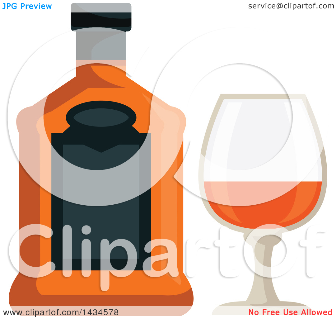 Clipart of a Bottle and Glass of Brandy.
