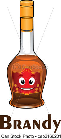 Vector Clip Art of Cartoon smiling brandy bottle character with.