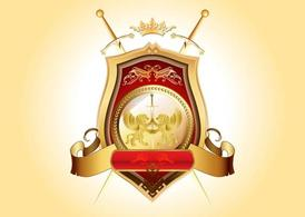 Golden shield PSD Clipart Picture Free Download.