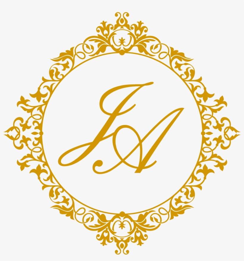 Brasão Dourado Casamento Vetor.