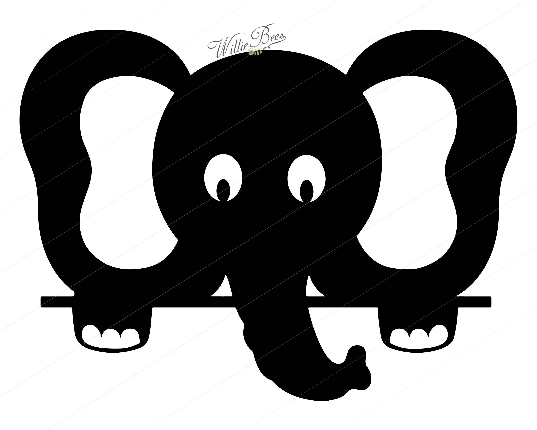 Peeking Elephant Silhouette Clipart.