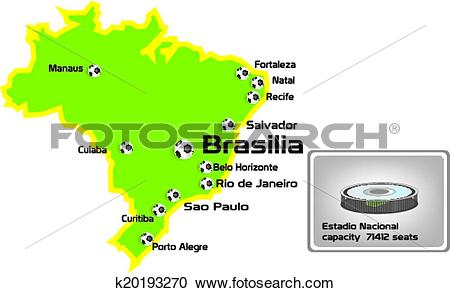 Clipart of brasilia stadium with map location k20193270.
