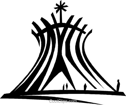 Brazilia Cathedral, Brazil Royalty Free Vector Clip Art.