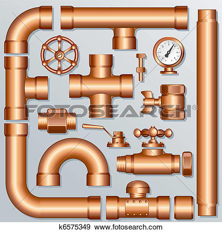 Clip Art of Brass Pipeline k6575349.