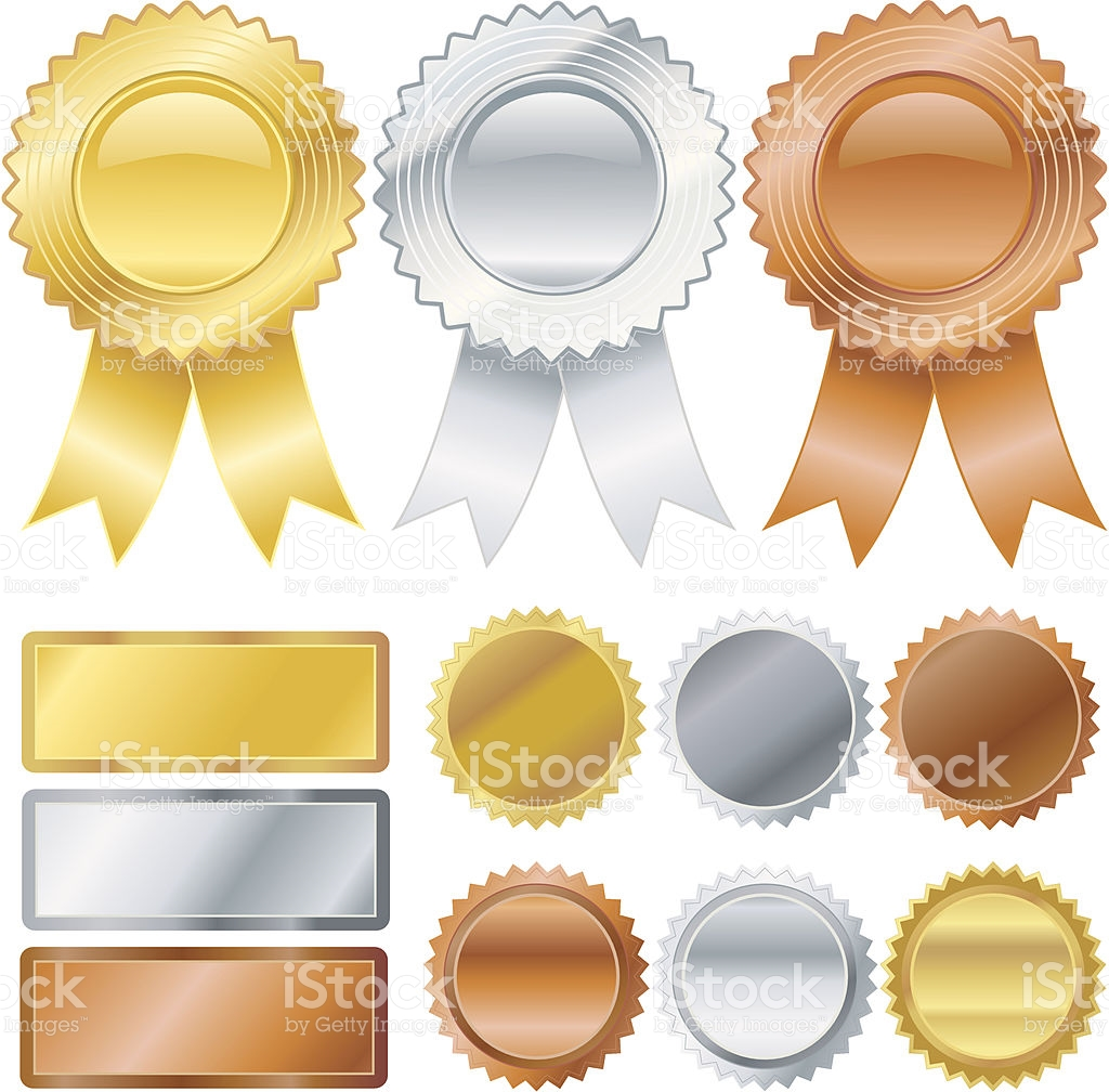 Gold Silver Bronze Medallions stock vector art 165981369.