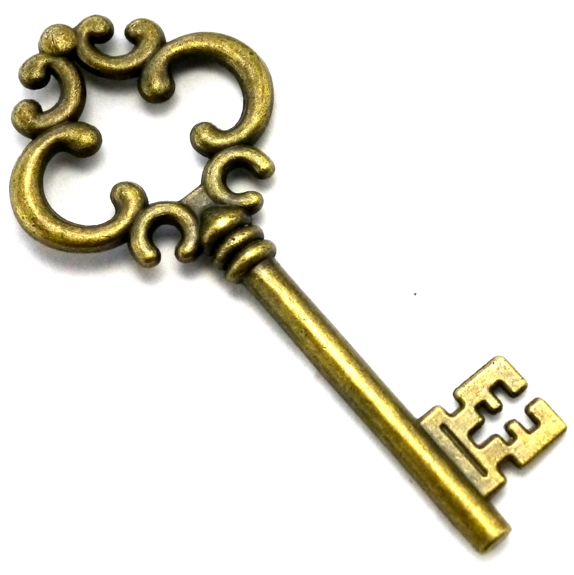 75mm Zinc Alloy Victorian Key Pendant Antique Brass Finish Bead.