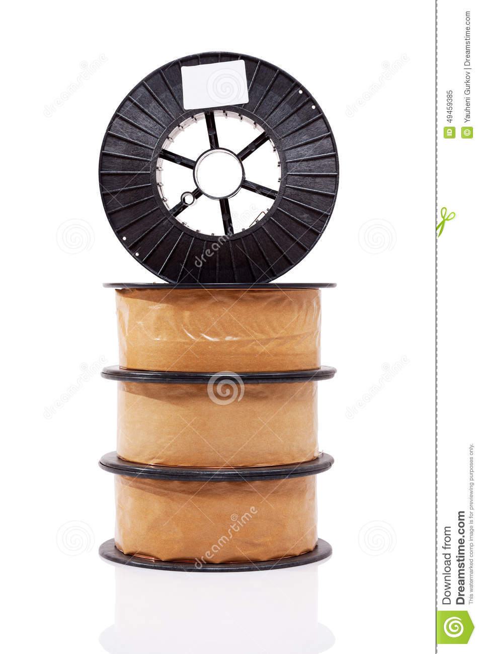 Packed Welding Wire Brass Alloy Spools Stock Photo.